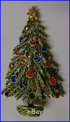 Vintage Signed ART Christmas Tree Snow Branch Enamel Color Rhinestone Pin Brooch