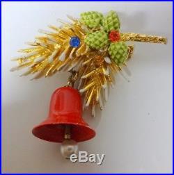 Vintage Signed ART Christmas Tree w Ornament Bell Rhinestone 3D Pin Brooch RARE
