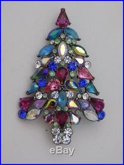 Vintage Signed AVON 3 Fruit Salad Rhinestones Christmas Tree Brooch-3rd Annual