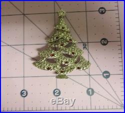 Vintage Signed AVON Christmas Tree Silver Tone Red Rhinestone Pin Brooch
