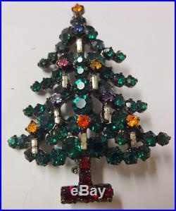 Vintage Signed Austria Christmas Tree Enamel Color Rhinestone Candle Pin Brooch