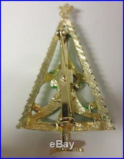 Vintage Signed B. J. Christmas Tree Enamel Retro Pin Brooch Very Rare