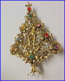 Vintage Signed Beatrix Rhinestone Gold Tone Christmas Tree Pin Brooch Super Rare