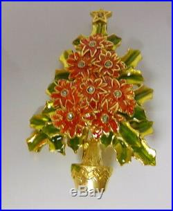 Vintage Signed By Christopher Radko Gold Tone Metal Christmas Tree Brooch Pin