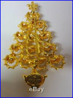 Vintage Signed Christopher Radko Rhinestone Gold Tone Christmas Tree Pin Brooch