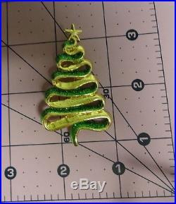 Vintage Signed Danecraft Christmas Tree Glittering Enamel Green Color Pin Brooch