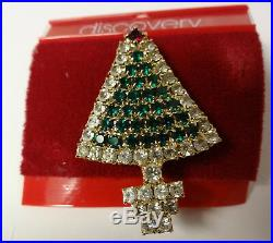 Vintage Signed Discovery Christmas Tree Prong Color Rhinestone Pin Brooch