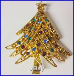 Vintage Signed Eisenberg ICE Rhinestone Christmas Tree Brooch Pin