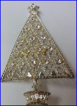 Vintage Signed Eisenberg Ice Frosty Christmas Tree Clear Rhinestone Pin Brooch