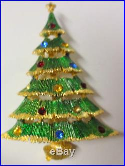 Vintage Signed JJ Rhinestone Enamel Gold Tone Christmas Tree Pin Brooch