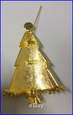 Vintage Signed LIA Christmas Tree Enamel Clear Rhinestone Star Pin Brooch RARE