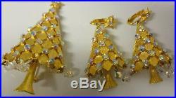 Vintage Signed MYLU Rhinestone Teardrops Christmas Tree Pin Brooch Earrings Set