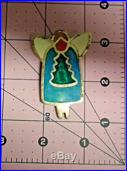 Vintage Signed Mexico Alpaca Silver Christmas Tree Turquoise Angel Brooch Pin