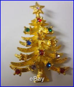 Vintage Signed Rafaelian Rhinestone Gold Tone Christmas Tree Pin Brooch RARE