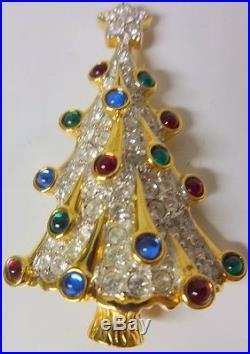 Vintage Signed Swarovski Crystal Christmas Tree Multi Color Brooch Pin