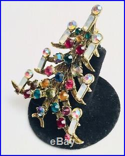 Vintage Signed WEISS Estate Christmas Tree Brooch Pin Multi Colored Rhinestones
