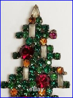 Vintage Signed WEISS Rhinestone Christmas Tree 5 Candle Ornament Pin Brooch