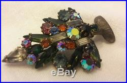 Vintage Signed Weiss Christmas Tree Brooch 3 Candle Rhinestones