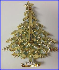 Vintage Signed Weiss Christmas Tree Star Topp Enamel Color Rhinestone Pin Brooch