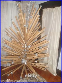 Vintage Silver Christmas Tree Aluminum 125 Branch 7' Pom Pom Sparkler Novelty