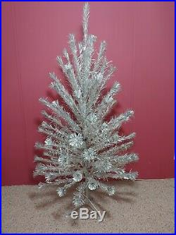 Vintage Silver Mid-Century 6 ft Peco Pom-Pom Christmas Tree(90+)Branches Nice