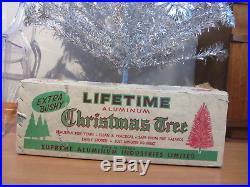 Vintage Silver Stainless Aluminum Christmas Tree 6½' Lifetime 105 bran Pom Pom