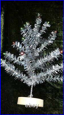 Vintage Silver Tinsel Table Top Feather Christmas Tree 13.5 Glass Ornaments