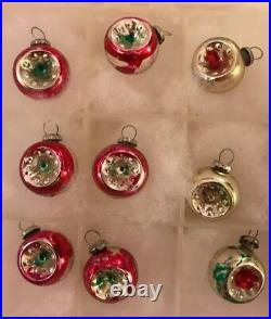 Vintage Small Indented Mercury Glass Feather Tree Ornaments Japan 3/4 Diameter