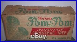 Vintage Sparkler Pom Pom 4 Ft Aluminum Christmas Tree 52 Branch Complete