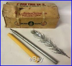 Vintage Sparkler Pom-Pom Aluminum 4' Silver Glow 40 Branch Christmas Tree in Box