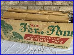 Vintage Sparkler Pom-Pom Aluminum Christmas Tree Star Band Co. 4 Ft