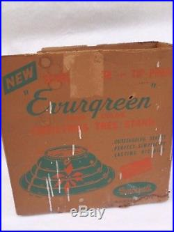Vintage Spincraft Evurgreen Tip Proof Christmas Tree Stand Seamless Spun IOB OLD