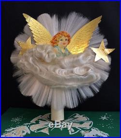 Vintage Spun Glass ANGEL Hair CHRISTMAS Tree Topper ...