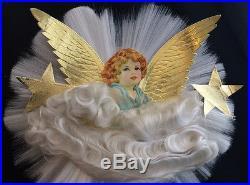 Vintage Spun Glass ANGEL Hair CHRISTMAS Tree Topper Embossed Foil Wings Stars