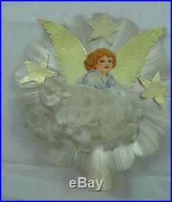 vintage spun glass gold foil star angel hair christmas tree topper - Angel Hair Christmas