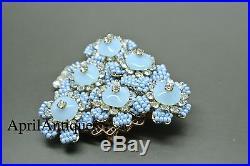 Vintage Stanley Hagler blue flower beaded christmas tree brooch