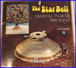 Vintage Star Bell Christmas Tree Stand Revolving Musical Jingle Bells