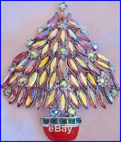 Vintage Super Rare Real Eisenberg Ice Classic Christmas Tree Pin + Book +tree