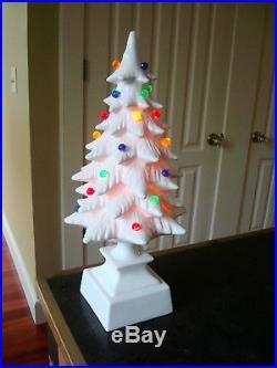 Vintage TALL 18.5 Ceramic Light Up WHITE Christmas Tree 2 PC Multi Color Lights