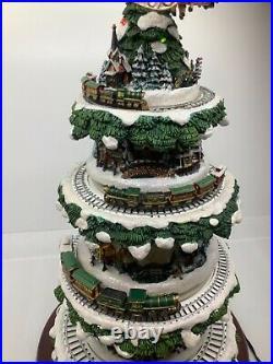 Vintage Thomas Kinkade Wonderland Express Animated Ceramic Christmas Tree Villag