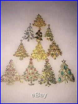 Vintage To Now Christmas Tree Brooch Pin Lot Of 11 AAI Tancer