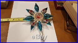 Vintage Tree Topper Mercury Glass INDENT Ornament feather small, Christmas Tree