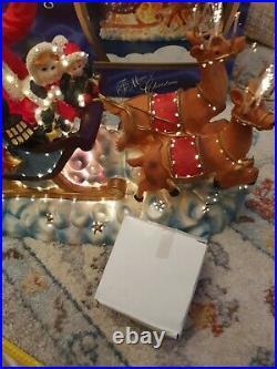 Vintage Tree top Fibre Optic Santa Claus Sleigh Light Decoration Christmas Boxed