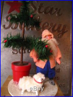 Vintage Twins Feather Tree Co Father Christmas Santa WithTree & Lamb 1988