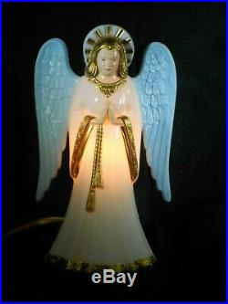 Vintage USAlite Hard Plastic Lighted Christmas Angel Tree Topper with Blue Wings