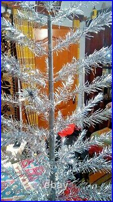 Vintage USSR artificial christmas tree. Aluminum color. 47in. Very rare. Box