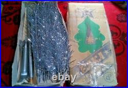 Vintage USSR artificial christmas tree. Aluminum color 47in very rare! Box