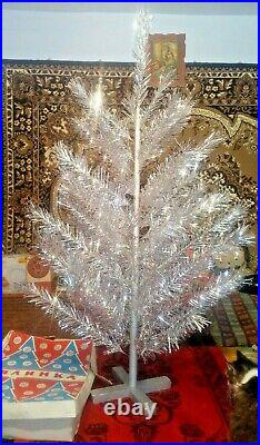 Vintage USSR artificial christmas tree. Aluminum color 47in very rare. Box new