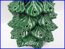 Vintage Used Old Ceramic Green Large Decorative Light Up 21 Christmas Tree