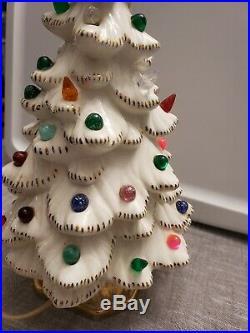 Vintage VTG Holland Mold Ceramic Christmas Tree Lighted Marble Rare Gold White